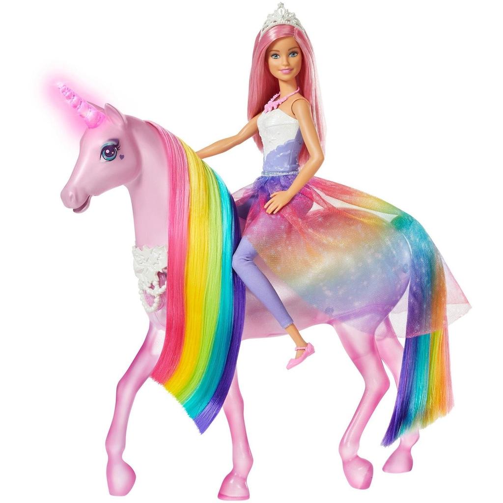 Barbie Anziehpuppe »Dreamtopia Magisches Zauberlicht Einhorn mit Puppe«