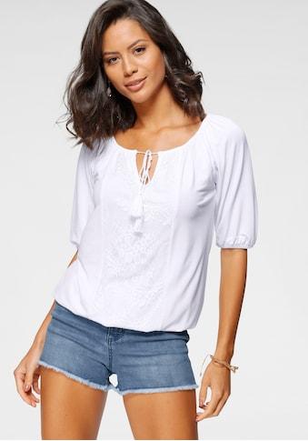 Laura Scott Rundhalsshirt, mit Spitze und Quastendetail kaufen