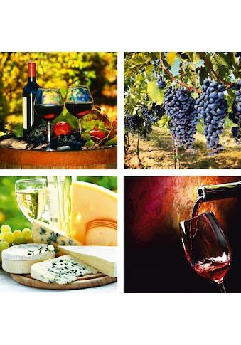 Home affaire Leinwandbild »Gläser, Weintrauben, Käse, Wein«, 4x 30/30 cm kaufen