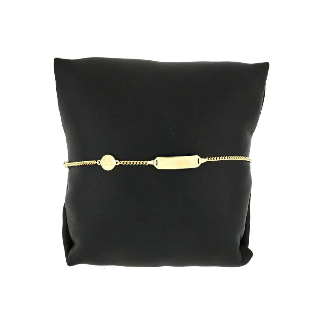 Firetti Armband »Engeleinhänger rund, Gravurplatte, glänzend, vergoldet, 2-fach diamantiert, mit Gratisgravur«