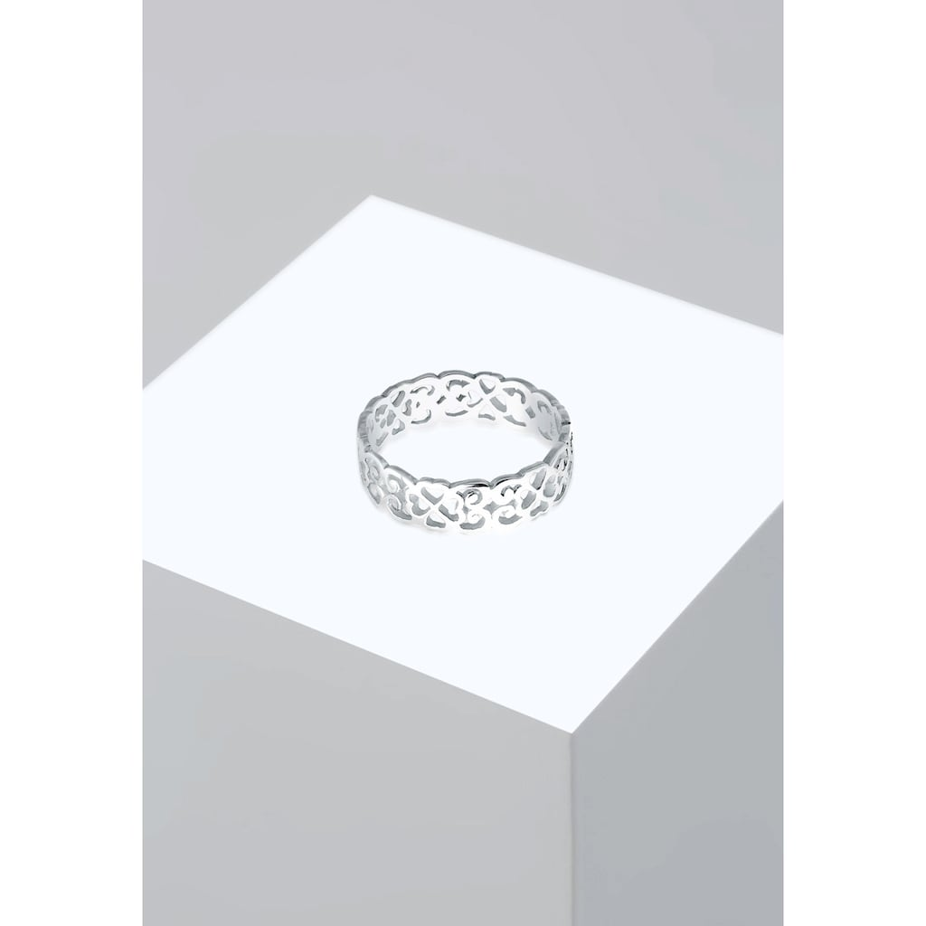 Elli Fingerring »Herz Kleeblatt Ornament Cut Out 925 Silber«