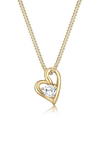 Elli Collierkettchen »Herz Liebe Zirkonia 585 Bezaubernd Gelbgold« kaufen