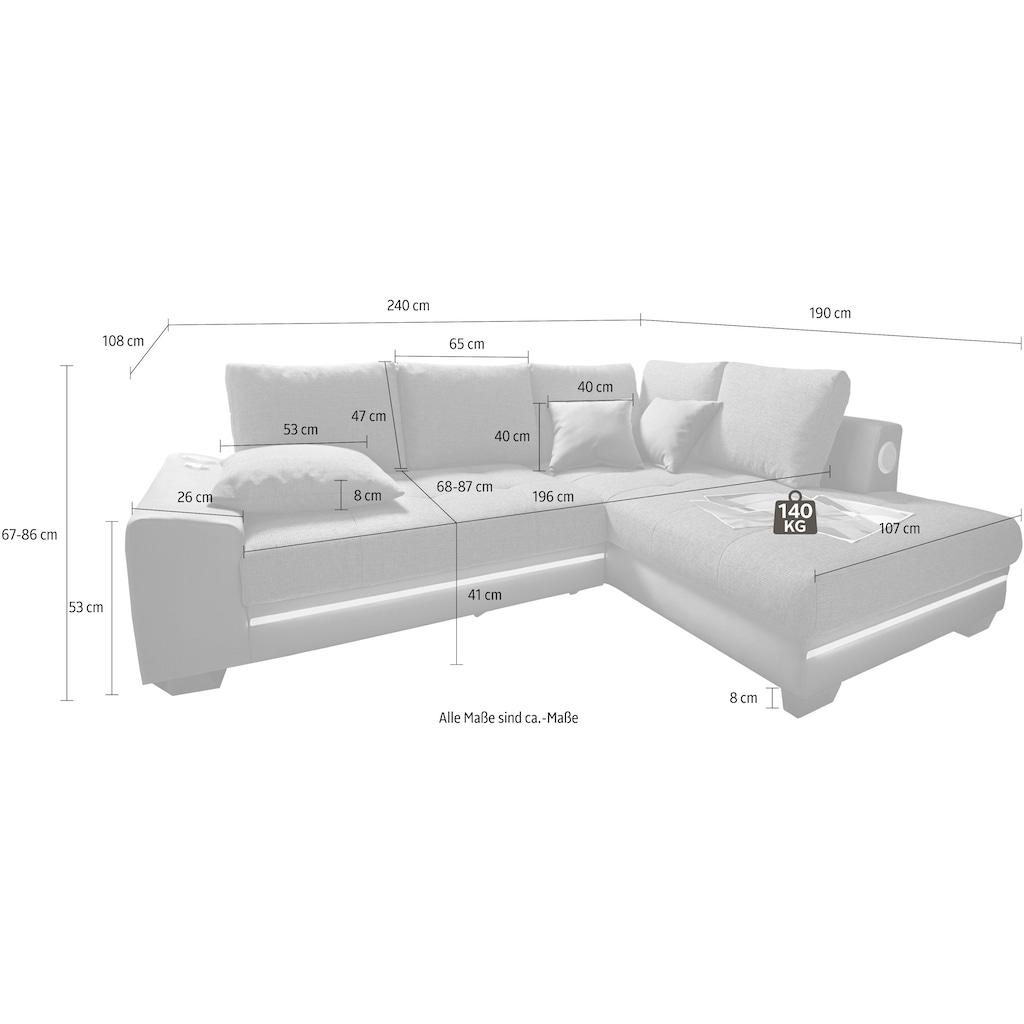 Nova Via Ecksofa, wahlweise mit Kaltschaum (140kg Belastung/Sitz), Bettfunktion, mit RGB-LED-Beleuchtung, wahlweise mit Bluetooth-Soundsystem