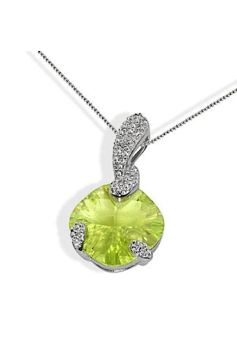 goldmaid Collier Silber 925/- hellgrüner und klare Zirkonia oval kaufen
