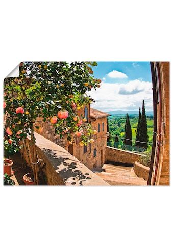 Artland Wandbild »Rosen auf Balkon Toskanalandschaft«, Garten, (1 St.), in vielen... kaufen