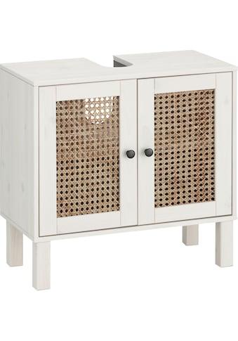 Home affaire Waschbeckenunterschrank »Roan«, aus Kiefer massiv mit Rattan-Einsatz,... kaufen