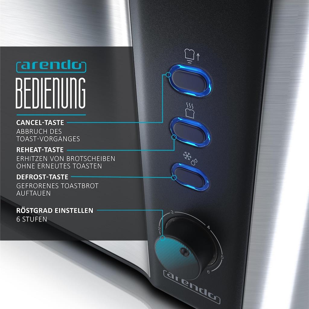 Arendo Automatik 2 Scheiben Langschlitz Toaster im Edelstahl Design