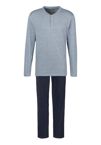 s.Oliver Pyjama, Melange Oberteil mit Knopfleiste kaufen