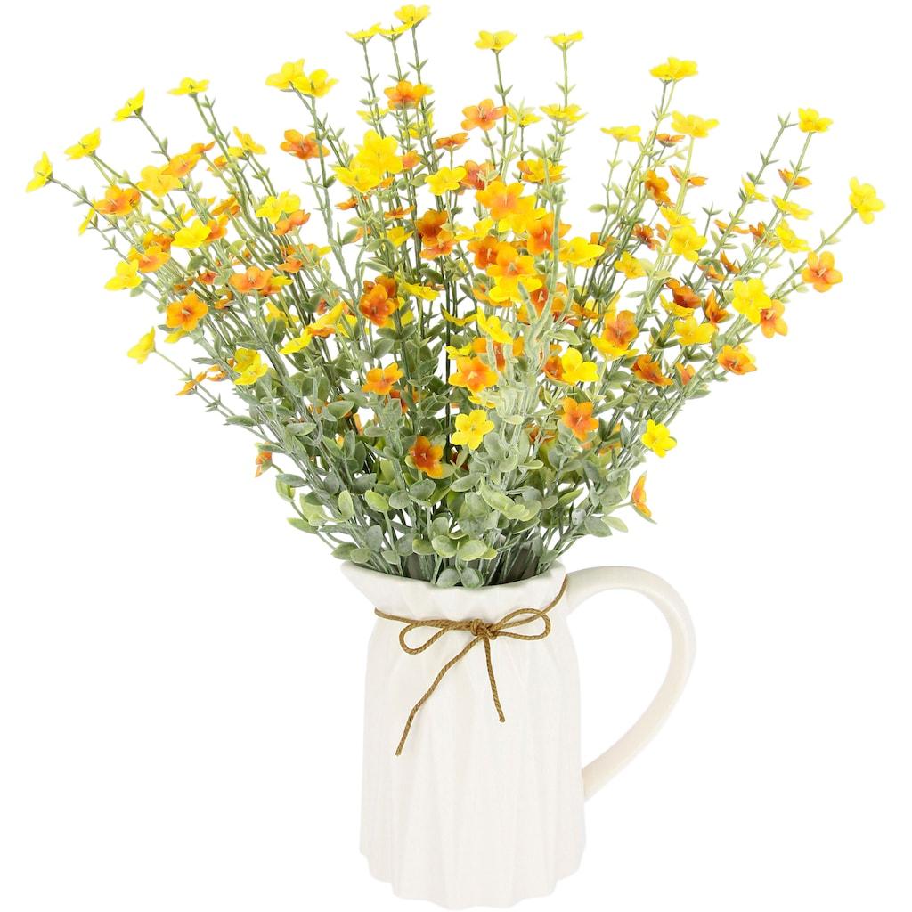 I.GE.A. Kunstblume »Blütenbusch«, Im Keramik-Krug mit Schleife
