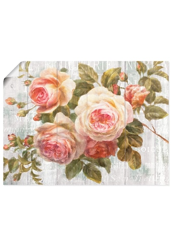 Artland Wandbild »Vintage Rosen auf Holz«, Blumen, (1 St.), in vielen Größen &... kaufen