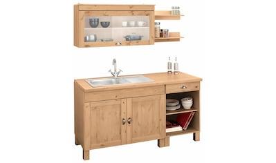 Home affaire Küchenzeile »Oslo«, ohne E-Geräte, Breite 150 cm, mit 35 mm starker durchgehender Arbeitsplatte, mit Metallgriff, Landhaus-Küche, aus massiver Kiefer kaufen