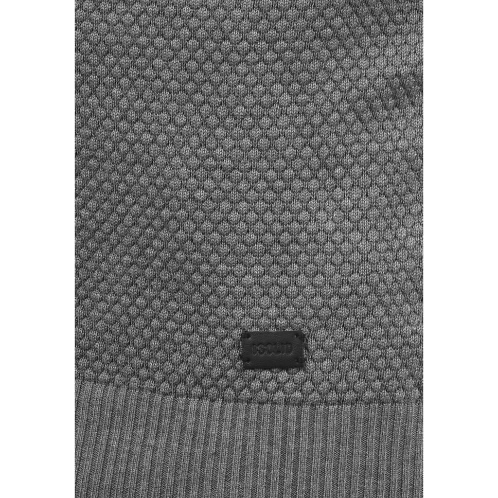 Solid Rollkragenpullover »Karlos«, Strickpullover mit Perlstrickmuster
