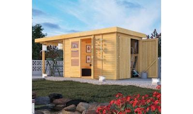 KONIFERA Set: Gartenhaus »Ostsee 3«, BxT: 566x238 cm, mit Anbauschrank und Anbaudach kaufen