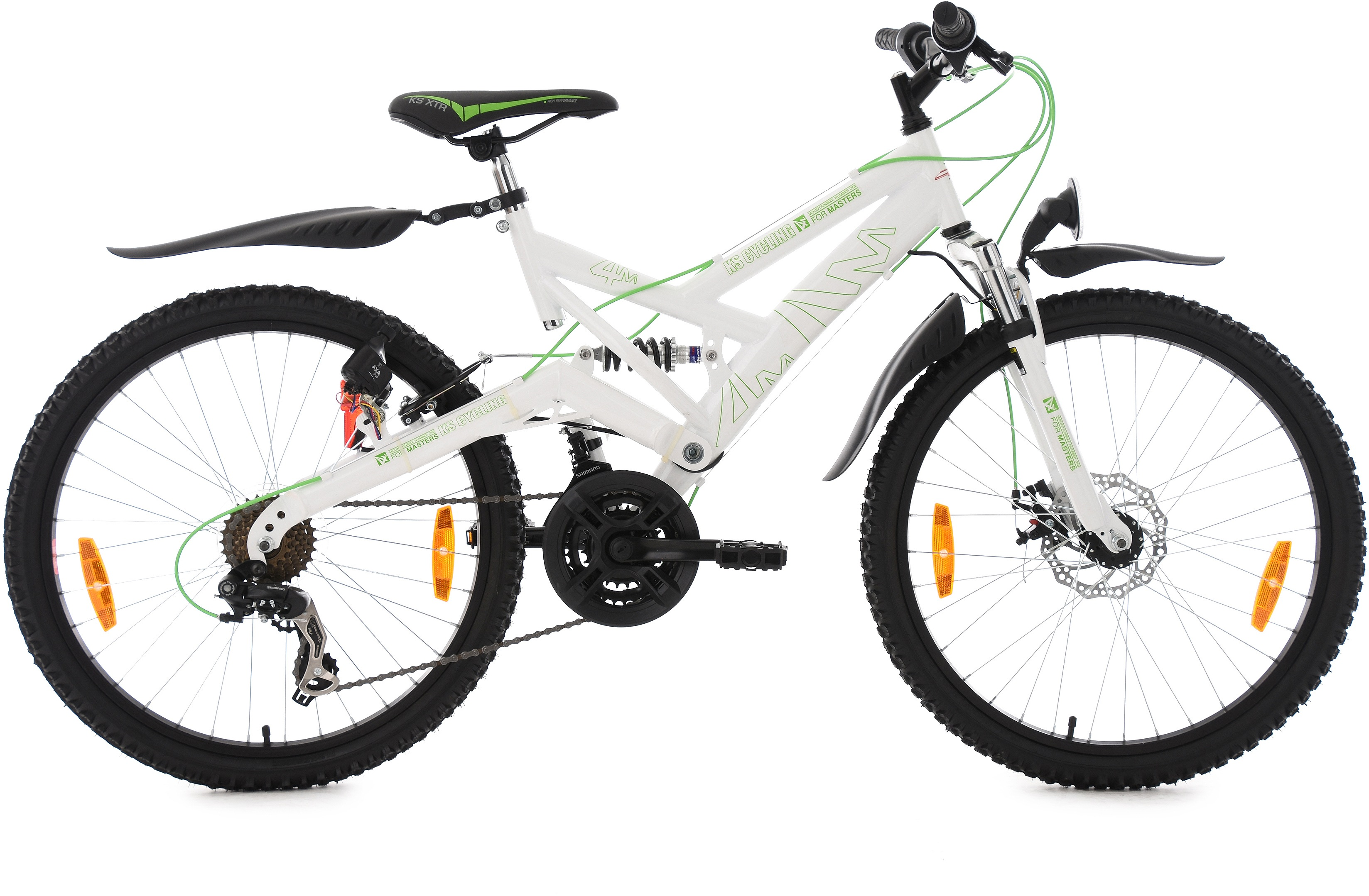 KS Cycling Kinderfahrrad, 24 Zoll, weiß-grün, Shimano 21 Gang-Kettenschaltung, »4Masters«