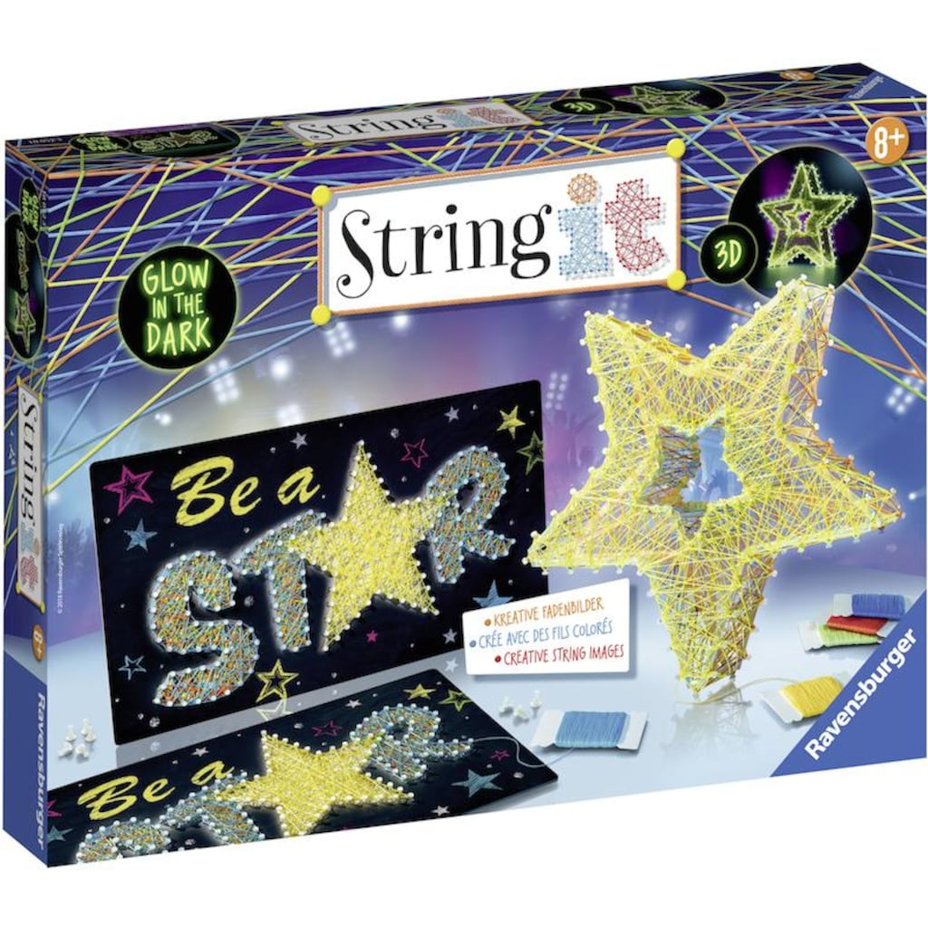Ravensburger Kreativset »String it Be a Star«, (Set), Leuchtet im Dunkeln; Made in Europe