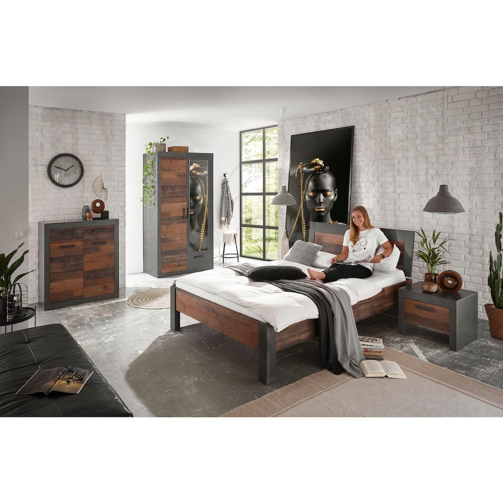 Home affaire Schlafzimmer-Set »BROOKLYN«, (Set, Einzelbett mit Holzkopfteil, Nachtkommode, Kleiderschrank 2 trg., Kommode), in dekorativer Rahmenoptik