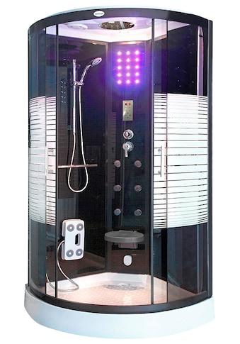 HOME DELUXE Komplettdusche »Dampfdusche Black Pearl«, mit LED Beleuchtung und Radio kaufen