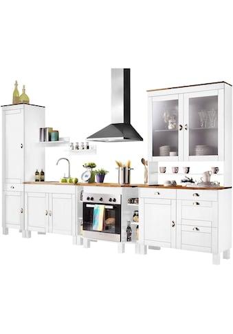 Home affaire Küchen - Set »Oslo«, (7 - tlg), ohne E - Geräte, aus massiver Kiefer, 23 mm starke Arbeitsplatte kaufen