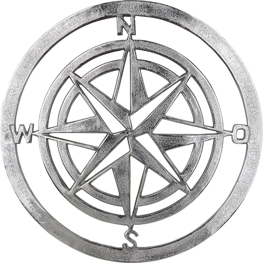 GILDE Wanddekoobjekt »Wandrelief Windrose«, Wanddeko, Ø 50 cm, maritim, Wohnzimmer