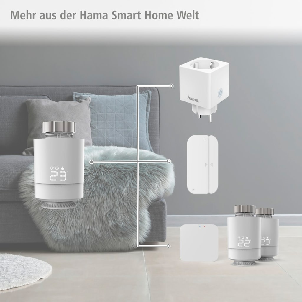 Hama Smartes Heizkörperthermostat »Thermostat mit Adapter«, für WLAN Heizungssteuerung