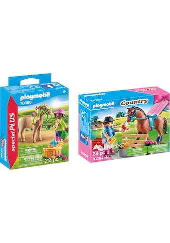 """Playmobil® Konstruktions - Spielset """"Mädchen mit Pony (70060), Special Plus und Geschenkset Reiterhof (70294), Country"""", Kunststoff, (Set, 2 - tlg.) kaufen"""