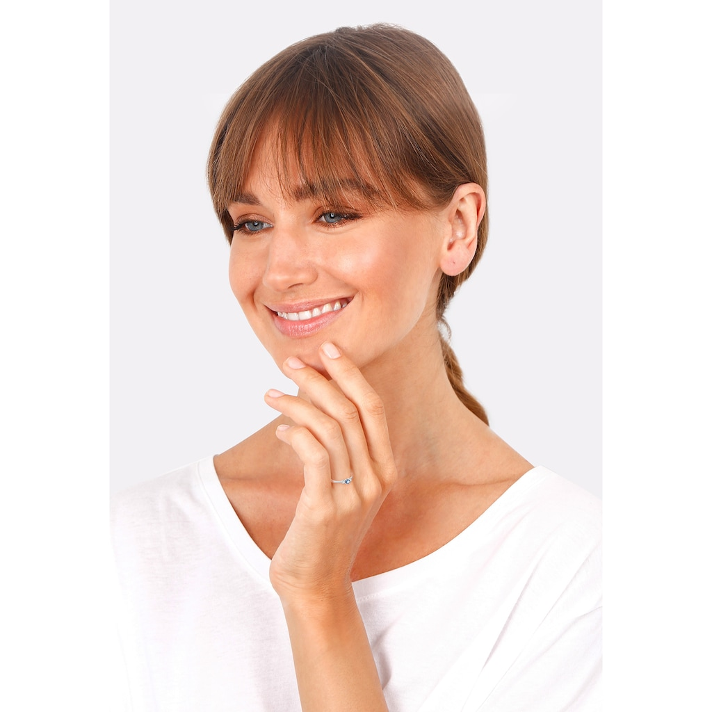 Elli Fingerring »Verlobungsring Zirkonia Saphirblau 925 Silber«