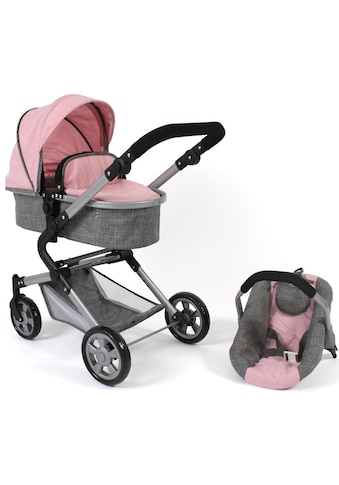 CHIC2000 Kombi-Puppenwagen »Lia, grau-rosa«, mit Puppen-Autositz kaufen