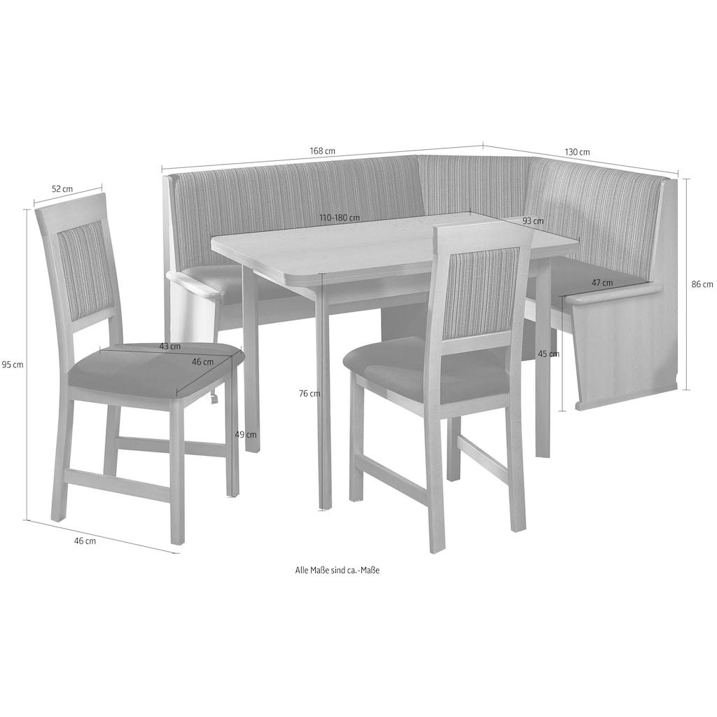 SCHÖSSWENDER Eckbankgruppe »Imola«, (Set, 4), Eckbank umstellbar, mit Auszug links und rechts 110(180)cm, Stühle massiv
