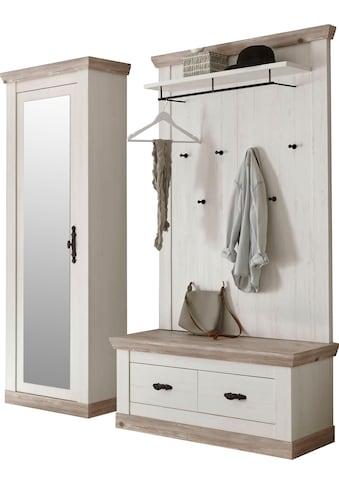 Home affaire Garderoben-Set »Florenz«, (3 tlg.), bestehend aus 1 Bank plus Sitzkissen, 1 Paneel und 1 Stauraumschrank mit Spiegel kaufen