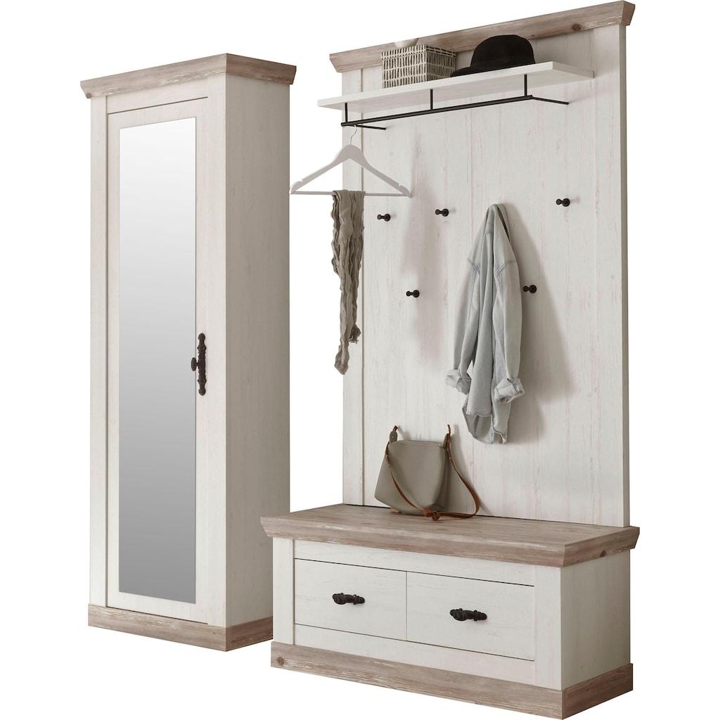 Home affaire Garderoben-Set »Florenz«, (3 St., mit Sitzkissen 4tlg.), im romantischen Landhaus-Look