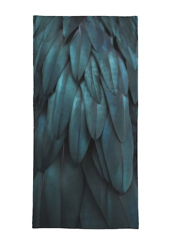 Juniqe Strandtuch »Dark Feathers«, (1 St.), Weiche Frottee-Veloursqualität kaufen
