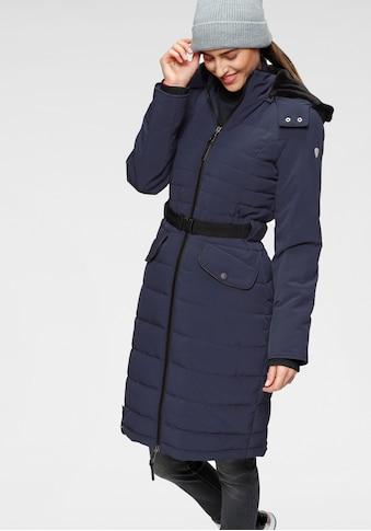 ALPENBLITZ Steppmantel »Oslo long«, hochwertiger Steppmantel mit Markenprägung auf dem elastischem Gürtel und abnehmbarer Kuschel-Kapuze kaufen