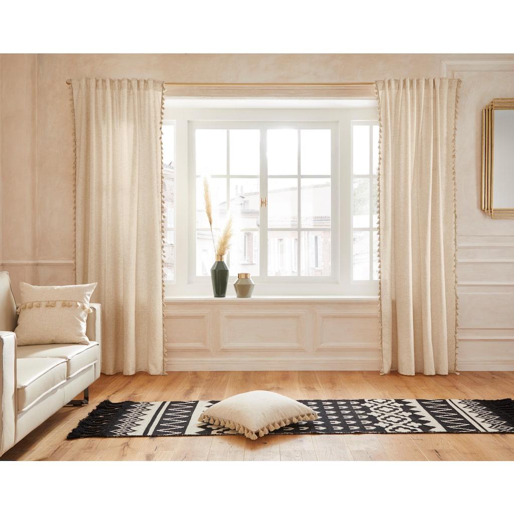 Guido Maria Kretschmer Home&Living Vorhang »Clara«, blickdicht, Leinen Optik, mit trendigen Bommeln