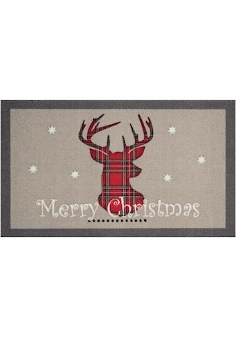 HANSE Home Fußmatte »Christmas Reindeer«, rechteckig, 7 mm Höhe, Schmutzfangmatte, mit... kaufen