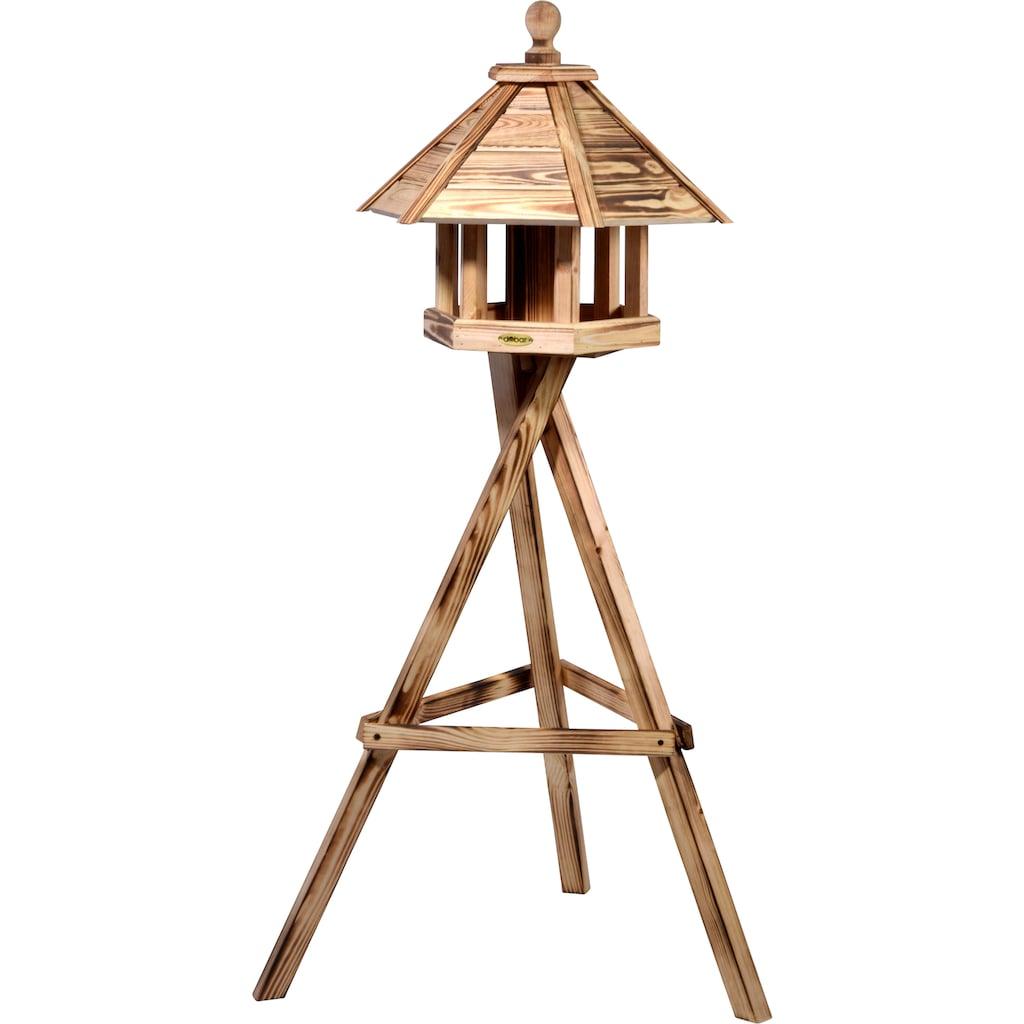 dobar green label Vogelhaus »Brillo«, BxTxH: 45x45x47 cm, mit Futtersilo im Inneren, Kiefer geflammt