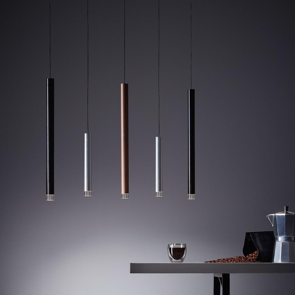 Brilliant Leuchten Cembalo LED Pendelleuchte 5flg alu/schwarz/braun