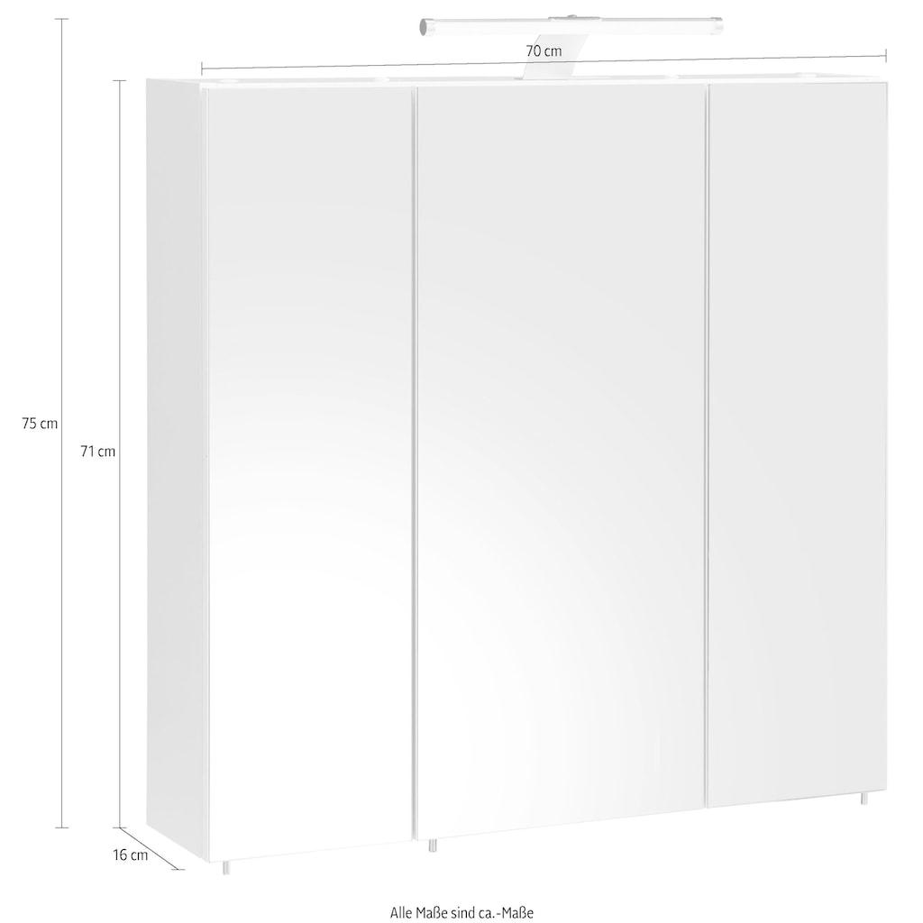 Schildmeyer Spiegelschrank »Roma«, Breite 70 cm, 3-türig, LED-Beleuchtung, Schalter-/Steckdosenbox, Glaseinlegeböden, Made in Germany