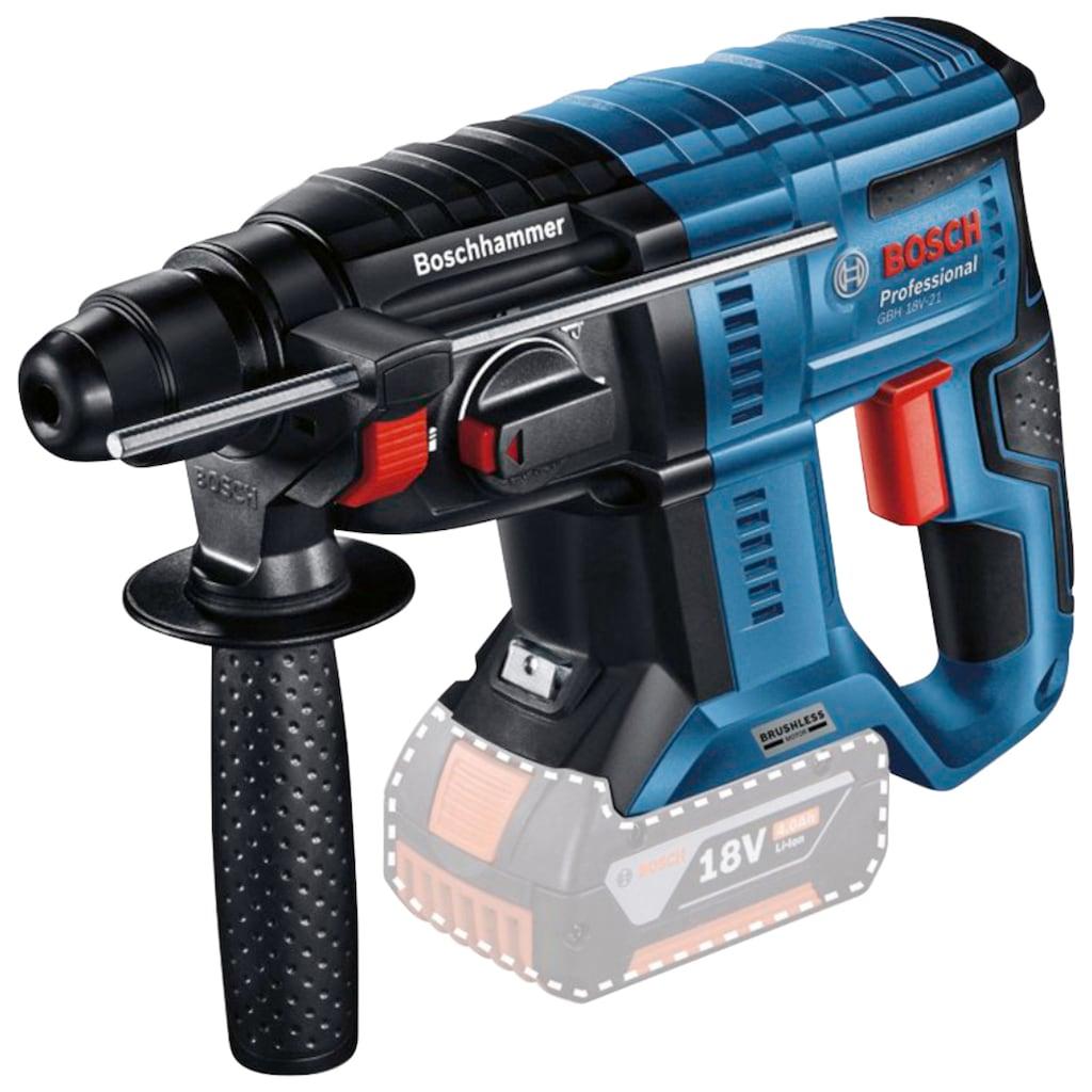 Bosch Professional Akku-Bohrhammer »GBH 18V-21 Professional«, kabelloser Komfort und bürstenlose Leistung, ohne Akku und Ldegerät