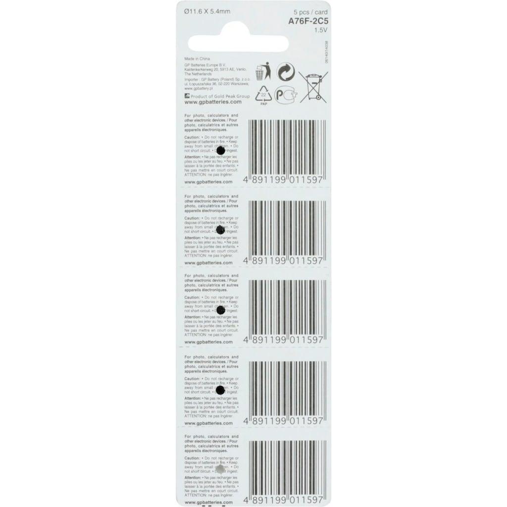 GP Batteries Knopfzelle »Alkaline A76, LR44, V13GA« Knopfzelle«, 1,5 V, (Set, 5 St.)