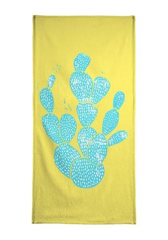 """Handtuch """"Linocut Cacti Desert Blue"""", Juniqe kaufen"""