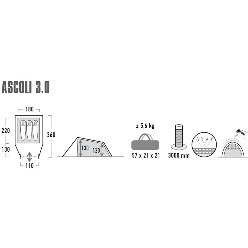 High Peak Tunnelzelt »Zelt Ascoli 3.0«, 3 Personen, (mit Transporttasche)