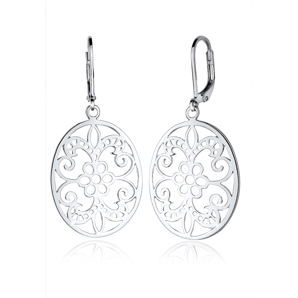 Elli Paar Ohrhänger »Ornament Blume Orientalisch Oval 925 Silber«