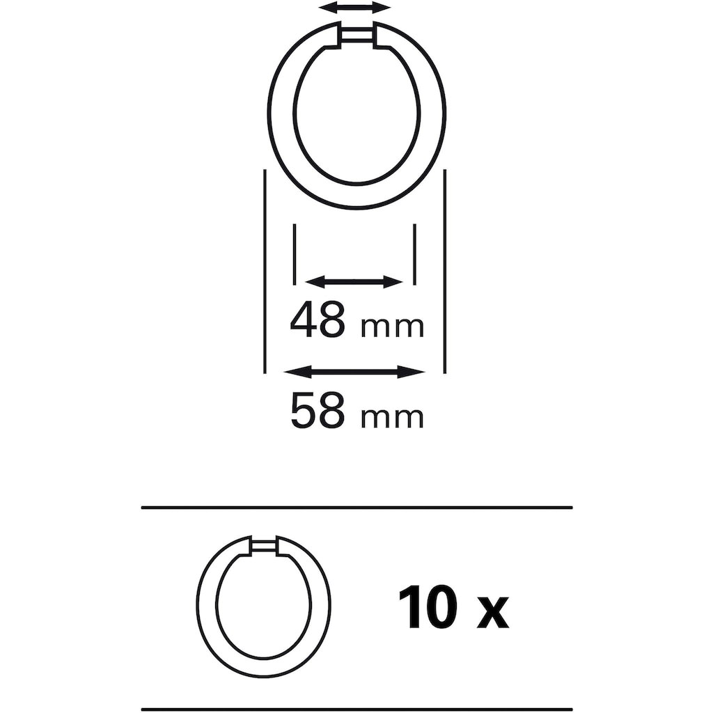 GARDINIA Gardinenring »Gardinenringe offen Kunststoff«, (10 St.), Serie Spannstange Ø 23/26 mm
