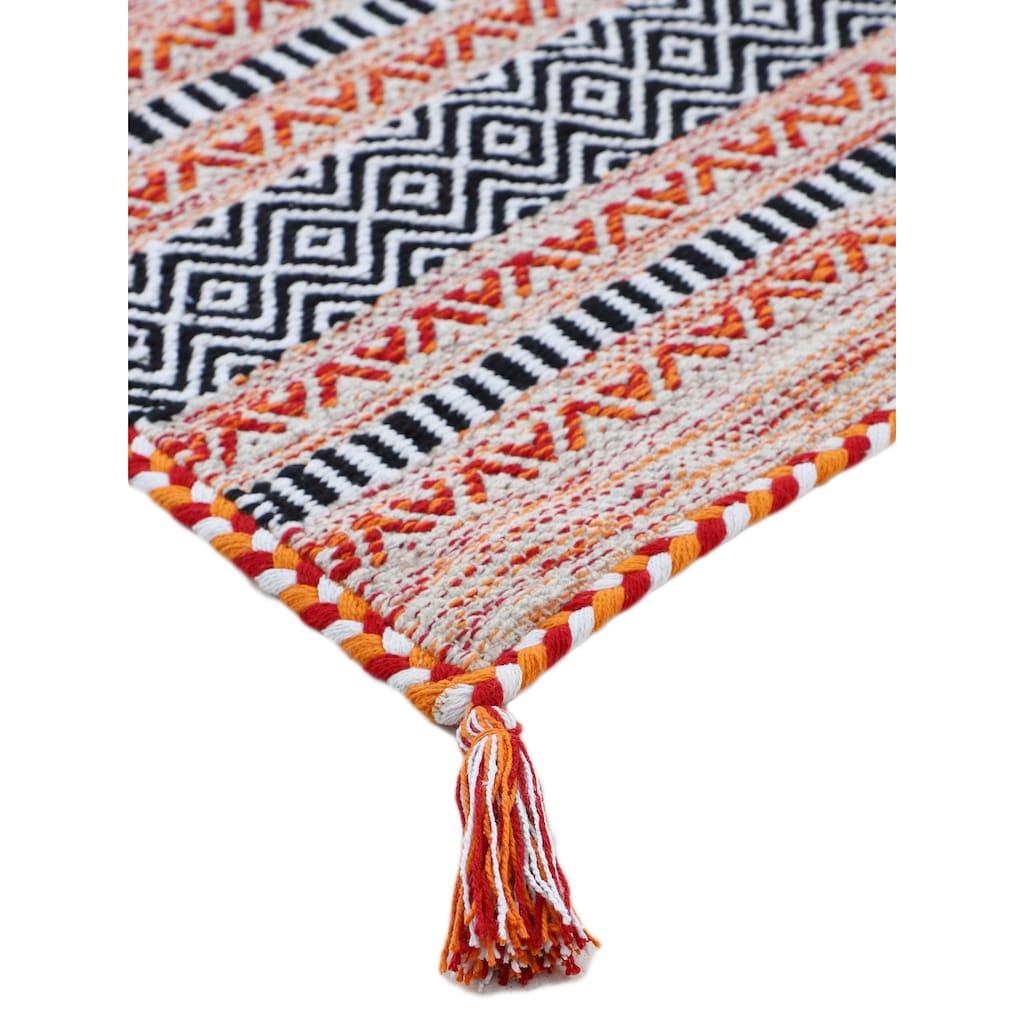 carpetfine Teppich »Kelim Azizi«, rechteckig, 5 mm Höhe, Baumwolle, Wendeteppich mit Fransen, Wohnzimmer