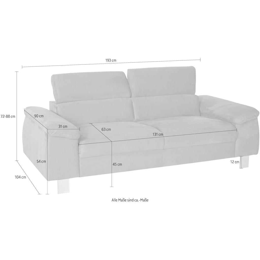 COTTA 3-Sitzer »Komaris«, inklusive Kopfteilverstellung, moderner chromfarbener Fuß