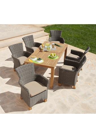 MERXX Gartenmöbelset »Toskana«, (13 tlg.), 6 Sessel, Tisch 185x90cm, Polyrattan/Akazie kaufen