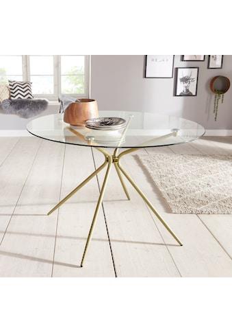 INOSIGN Glastisch »Silvi«, rund, Ø 110 cm, Metallgestell in messingfarben kaufen