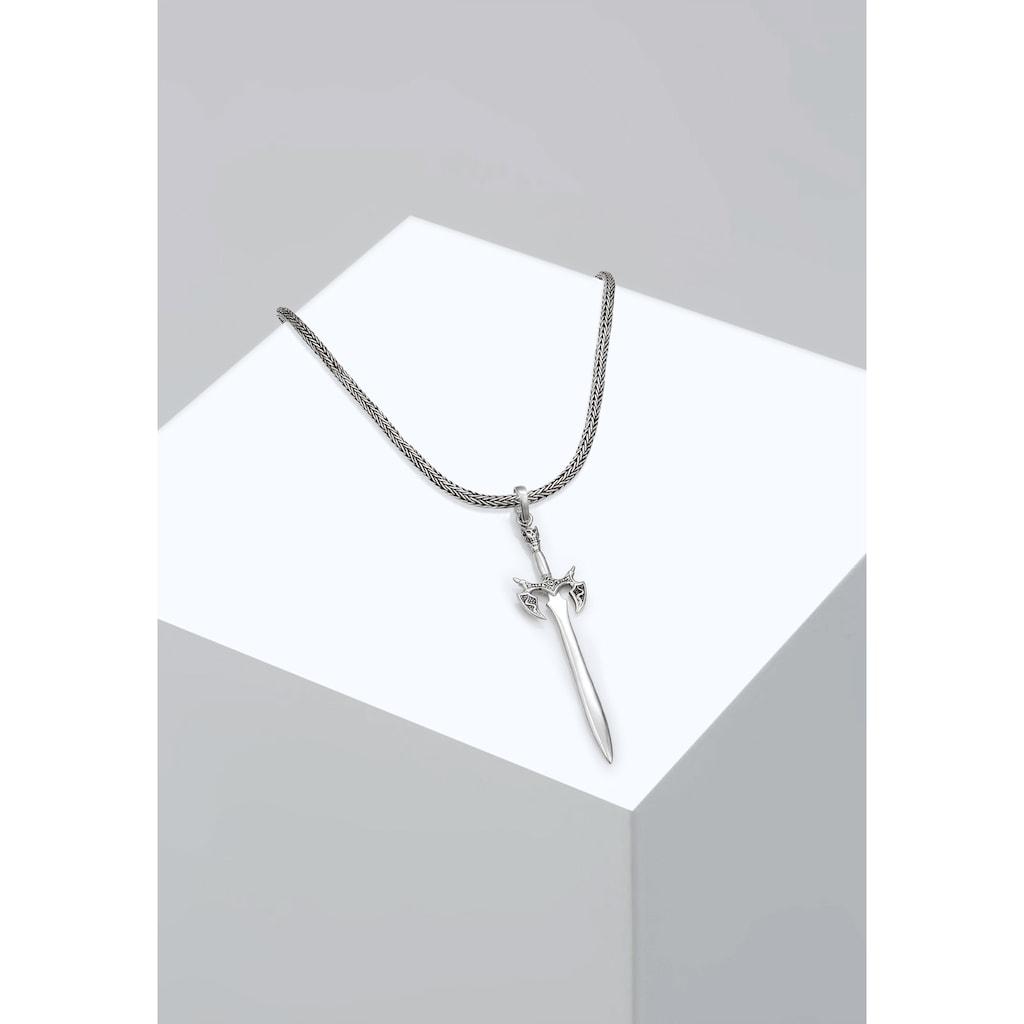 Kuzzoi Kette mit Anhänger »Herren Schlangenkette Schwert Massiv 925 Silber«
