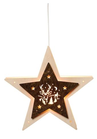 SAICO Original Fensterlicht - Stern mit Hirsch, elektrisch beleuchtet kaufen