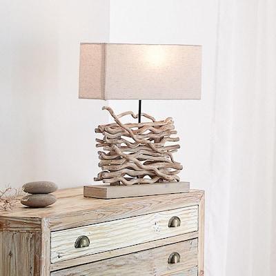 trendige Tischleuchte aus Treibholz